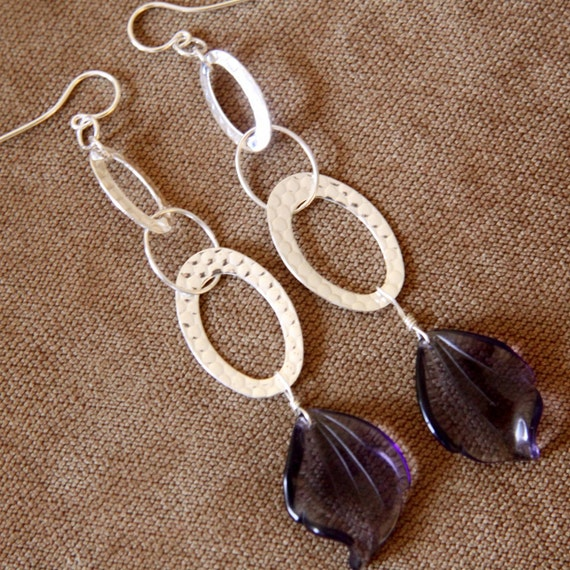 Extra large purple and sterling silver earrings