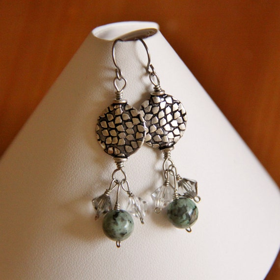 Vintage looking silver, Jasper and Swarovski crystal earrings