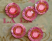 Sew on applique trim- hand embroidered- Pink circle shaped applique