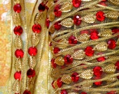 Woven -2meter- Imported metallic 'Royal' Gold trim- Golden Leaf and  Red crystals