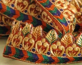 Leaf embellished ribbon-1meter- intricate embroidery with Goldwork