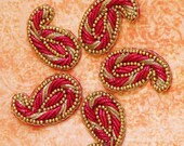 Sew on Beaded applique trim paisley- Fuchsia and Gold color Purl yarns