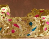 Ribbon-1 meter- Gold with Pink and Teal paisley highlights