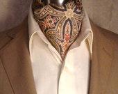 Vintage c1940s Paisley Ascot Cravat British Made Perfection