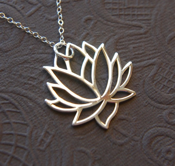 Large Silver Lotus Flower Pendant And Sterling Silver