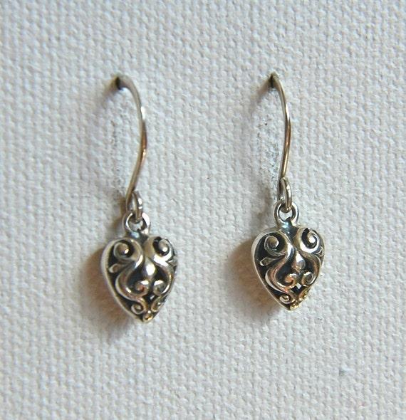 Sterling silver filigree scrollwork heart charm earrings