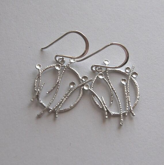 SALE - Silver flower field pendant earrings - were 20 dollars, now 14 dollars