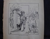 reserved for brandy Vintage Dog Illustration Beautiful Dog Lithograph from 1893. Little Boy with His Dog
