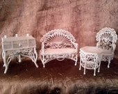 Metal Wicker Doll House Porch Furniture.