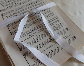 SALE 100 Vtg Hymnal Music Pages. 100+ pgs Vintage Sheet Music. Religious Music. Crafting, altered art. 5x7.5. Wedding Crafts. Old Book Pages