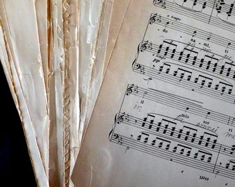 "SALE 20 XL Sheets Antique Sheet Music- Large Format 11x14"" Classical Music. Perfect to frame. Victorian Sheet Music. Old Vintage Music Pages"