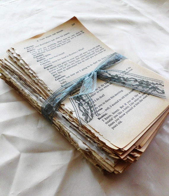 3 Sets. Over 150 Pages of Beautiful Aged Patina'd Vintage Book Pages.  Novel Pack. Old Book Pages. Book Lover Gift