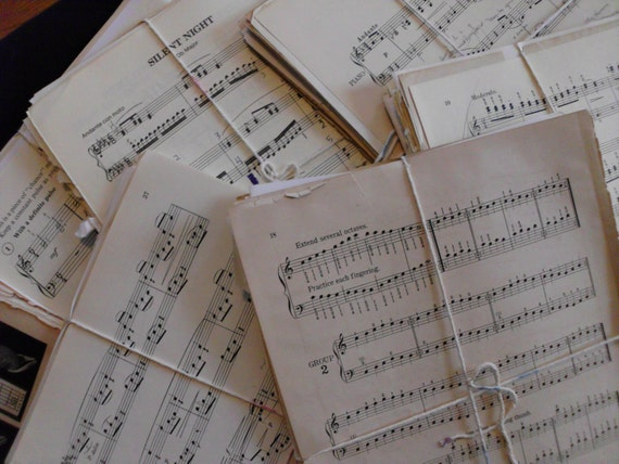 Over 100 Pages of Sheet Music Antique and newer. Collection of over 100 Music Pages for Crafting, Home Decor, Altered Art or Scrapbooking