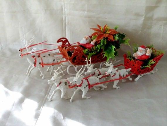 Vintage Santas in the Sleigh with Reindeer. 2 sets