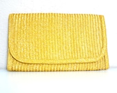 Vintage Sunshine Yellow Straw Clutch - junkyardgarden