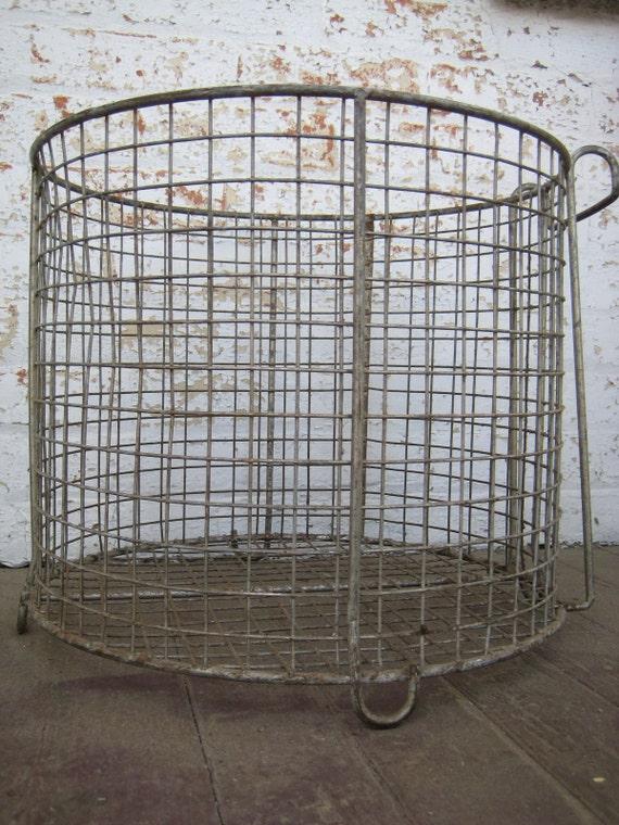 Large Vintage Industrial Wire Basket