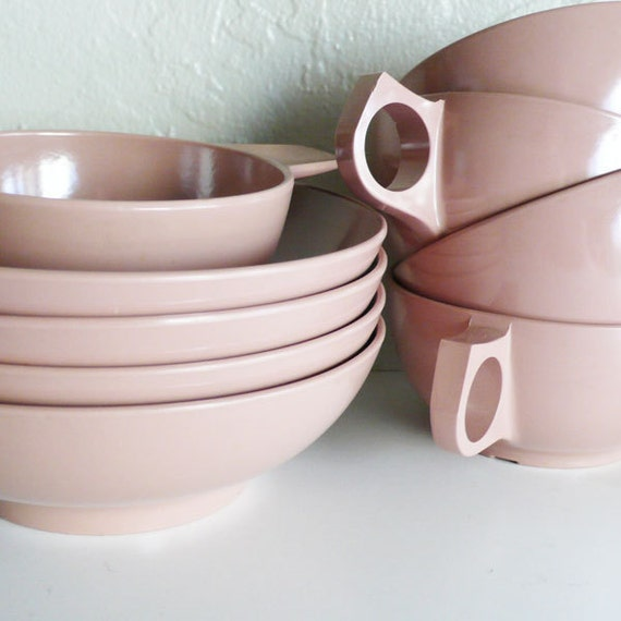 Vintage 1950's Melmac Durawear Dusty Rose Cups and Bowls