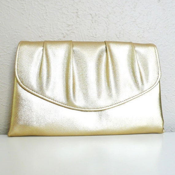Vintage Pleated Gold Clutch