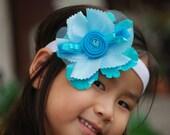 Something Blue Flower Brooch Pin / Hair Clip Bow. Handmade Fascinator Flapper Comb, Bride Bridal Accessory. Turquoise Aqua Aquamarine Cyan