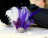 Ivory & Royal Purple - Rhinestone Fascinator Hair Comb / Clip. Classy Stylish Statement Wedding, Bridal Bride Couture. Turquoise Aqua Navy