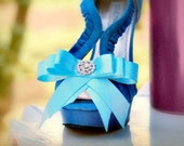 Aqua Blue & Sparkly Bow Shoe Clips. Wedding Photo Prop, Burlesque Boudoir, Couture Custom Made Colors White Tangerine Ivory Yellow Teal Pink