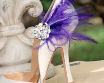 Shoe Clips Royal Purple Feathers & Silver Sequins. Wedding Bride Bridesmaid Couture. More Green Pink Ivory Red White Blue. Boudoir Burlesque