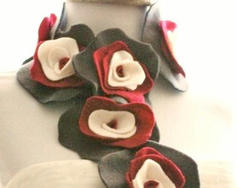 Grey Red Ivory Scarflette. Edgy Collar Feminine Ruffle Rose Rosette, Garden Chic Party, Ruby Gray Beige Charcoal, Floral Youthful Preppy Fun