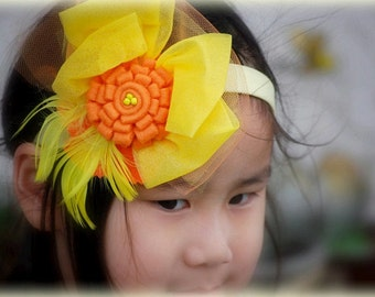 Yellow Tangerine Tango Headband / Hair Clip. Birthday Teen Toddler, Statement Spring Orange Feather, Bright Sunshine, Pageant Circus Parties
