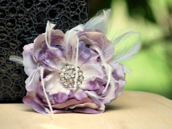 Wedding Pin, Hair Clip, Comb Amethyst Purple Flower. Big Day Fascinator, Bride Bridesmaid, Bridal Floral Fashion, Teen Rhinestone Statement