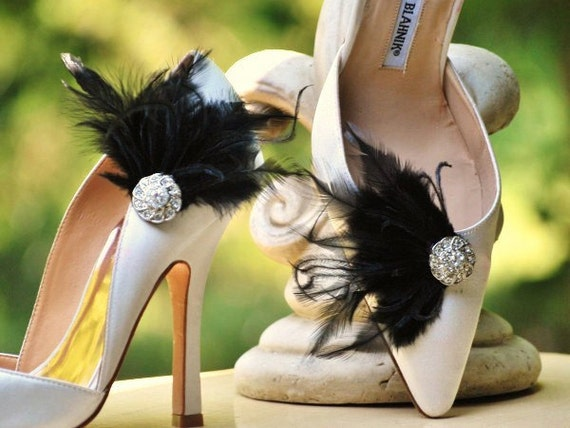 Black Shoe Clips. White Ivory Red Teal Blue Feathers & Silver Rhinestones. Statement Bride Bridal Bridesmaids Couture, Spring Birthday Gift