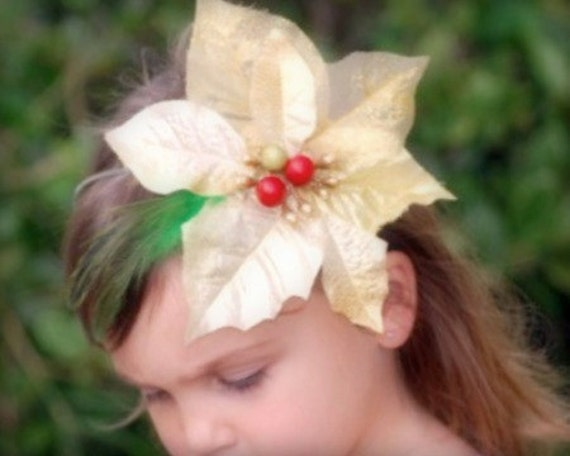 Christmas in July Gold / Red Poinsettia Hair Clip / Brooch Pin / Headband. Holiday Baby First Photo Portrait, Golden Poinsetta Under 30 Gift