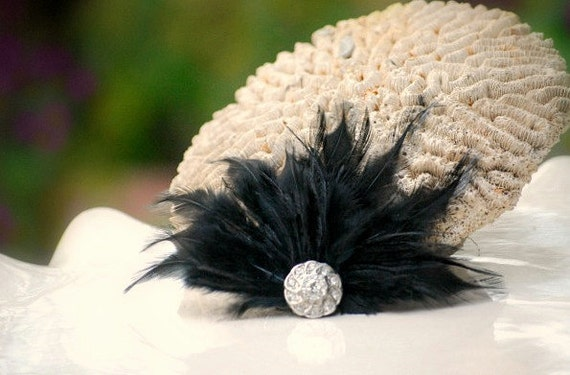 Hair Comb or Clip BLACK / White / Ivory / Blue Feathers Rhinestone. Bride Bridal Couture Pin, Ebony Noir Summer Birthday Statement Burlesque