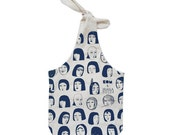 eco friendly silkscreened bag with bow / blue print