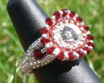 Crystal and Ruby Swarovski Ring