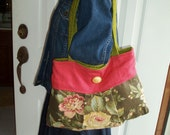 Green and Coral Cotton Floral  Pleated Bag with Gold Button