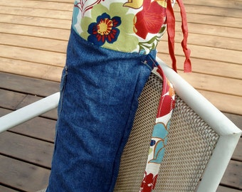Blue Jean Cotton Floral Drawstring Yoga Mat Bag