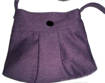 Plum  Pleated Bag with  Adjustable Strap