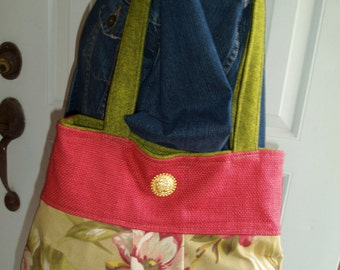 Olive,Green, and Coral Cotton Floral  Pleated Bag with Gold Button