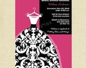 Bold Damask Wedding Dress Bridal Shower Invitation - Customizable - PRINTABLE INVITATION DESIGN
