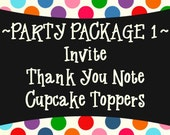 Party Package 1 - Invite, Thank You and Cupcake Toppers OR Water Bottle Wraps - PRINTABLE DESIGNS