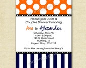 Polka Dots and Stripes Couples Shower Invite - PRINTABLE INVITATION DESIGN