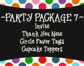 Party Package 7 - Invite, Thank You, Cupcake Toppers and Circle Favor Tags - PRINTABLE DESIGNS