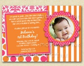 Pink Orangeade Custom Photo Birthday Invitation - Pink and Orange Invite - Girl's Birthday Invite - Photo Invite-PRINTABLE INVITATION DESIGN
