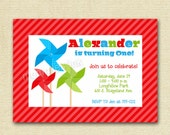 Pinwheel Dots and Stripes Photo Birthday Invite - 2- PRINTABLE INVITATION DESIGN