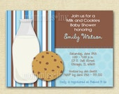Milk and Cookies Baby Shower Invitation or Birthday Invite - Milk & Cookies Invite - 1st Birthday - PRINTABLE INVITATION DESIGN