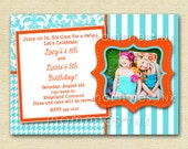 Turquoise and Orange Kaledioscope Custom Photo Birthday Invitation -  PRINTABLE INVITATION DESIGN