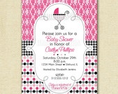 Mod Baby Carriage ... Baby Shower Invitation - PRINTABLE INVITATION DESIGN