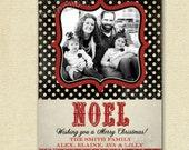 Christmas Card, Photo Christmas Card, Vintage Christmas Card, Black and Red Christmas Card, Polka Dot Christmas Card, Shabby Christmas Card
