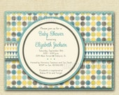 Shabby Style Polka Dots and Bunting Banner Baby Shower Invitation - Aqua Brown Lime Green  - PRINTABLE INVITATION DESIGN
