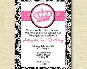 Mod Vintage Crown Birthday Invitation - PRINTABLE INVITATION DESIGN